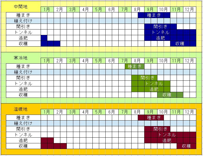 聖護院大根の栽培カレンダー